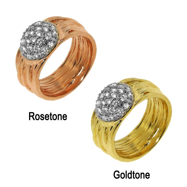 Goldplated Clear Cubic Zirconia Multi-tiered Circle Ring