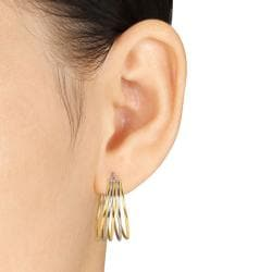 Two-tone Stainless Steel Hoop Earrings