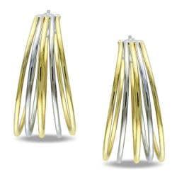 Two-tone Stainless Steel Hoop Earrings