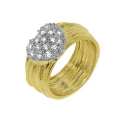 Goldplated Clear Cubic Zirconia Multi-tiered Heart Ring
