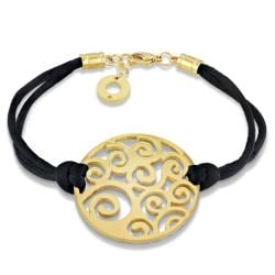 Miadora Yellow-plated Stainless Steel and Black Cord 7.5-inch Bracelet