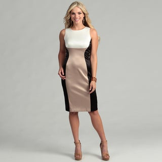 Gabby Skye Women's Cream/ Black Colorblock Dress