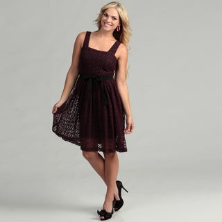 Gabby Skye Women's Eggplant Lace Dress