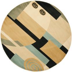 Porcello Deco Blue/ Multi Rug (7' Round)