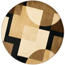 Porcello Deco Brown/ Multi Rug (7' Round)