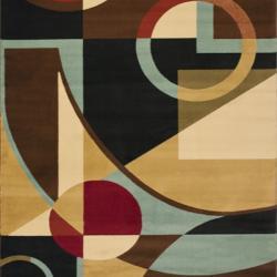 Porcello Cosmos Black Geometric Rug (7' Square)