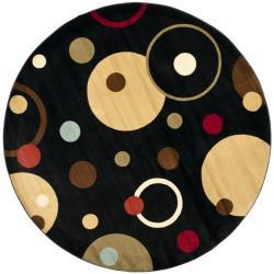 Safavieh Porcello Cosmos Contemporary Black Rug (7' Round)