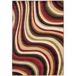 Safavieh Porcello Waves Red/ Multi Rug (6' 7 x 9'6)