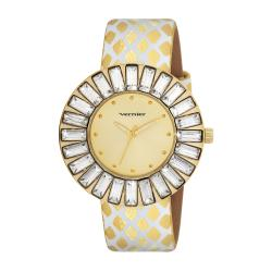 Vernier Woman's V11101YG Baguette Sunray Crystal Watch