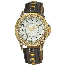 Vernier Women's V11104BKG Round Crystal Clear Bezel Quartz Watch