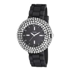 Vernier Woman's V11058BK Crystal Stone Bezel Watch