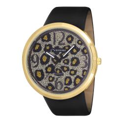 Vernier Woman's V11067YG Large Glitter Leopard Watch