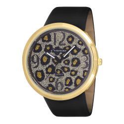 Vernier Woman's V11067YG Large Glitter Leopard Watch