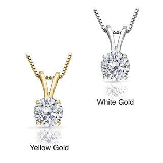 Auriya 14k Gold 1/2ct TDW Diamond Solitaire Necklace (J-K, I2)