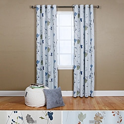 Lights Out Flower Printed 84-inch Grommet Curtain