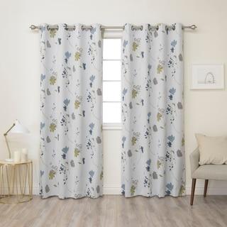 Aurora Home Flower Printed 84-inch Grommet Curtain Panel Pair