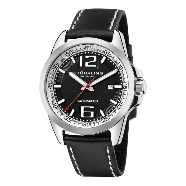 Stuhrling Original Men's Concorso Cabriolet Automatic Black Silvertone Watch