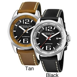 Stuhrling Original Men's Concorso Cabriolet Automatic Black or Brown Tan Silvertone Watch