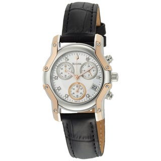 Bulova Women's 'Wintermoor' Stainless and Rose Goldplated Steel and Leather Quartz Chronograph Watch
