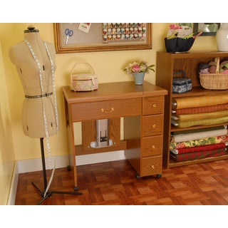 Arrow 'Auntie Oakley' Oak Finish Crafts & Sewing Machine Table with Storage & Organization Cabinet
