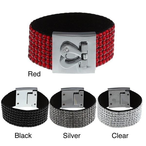 Silvertone Crystal 7-row Leather Heart Clasp Bracelet