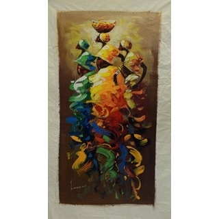 Bernard Mensah Unframed 'Women of Hope' Original Painting (Ghana)