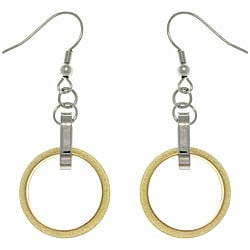CGC Two-tone Stainless Steel Interlocking Circle Drop Hook Earrings