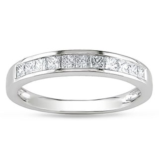 Miadora 14k White Gold 1/2ct TDW Princess Diamond Anniversary Ring (G-H, I1-I2)