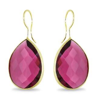 22k Goldplated Double Checkerboard Pear-cut Gemstone Earrings