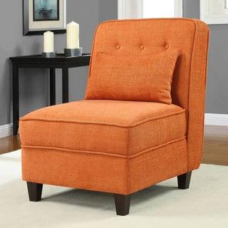 Mattie Fiesta Orange Tufted Slipper Chair
