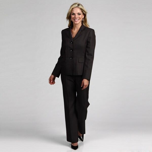 Le Suit Women's Black/ White 3-button Pant Suit