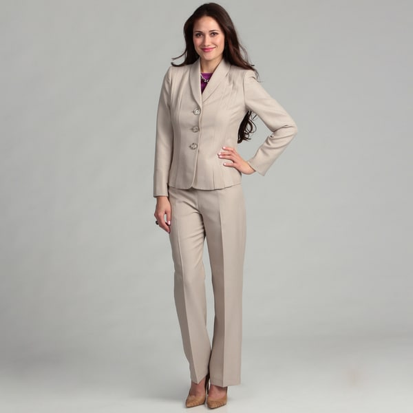 Le Suit Women's 3 Button Shawl Collar Melange Jacket w/Pant