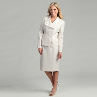 Le Suit Women's Three-button Jacquard Skirt Suit
