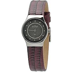 Skagen Women's Burgundy Leather Watch