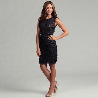 Eliza J Women's Navy Lace Ruche Dress FINAL SALE