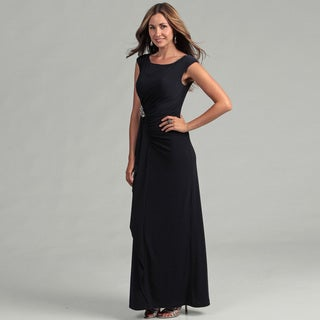 Eliza J Women's Navy Cap-sleeve Gown with Brooche