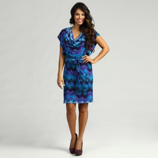 Jessica Howard Women's Purple/ Blue Printed Dress