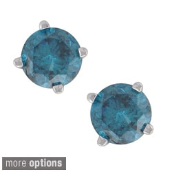 14k White Gold Round Blue Diamond Stud Earrings