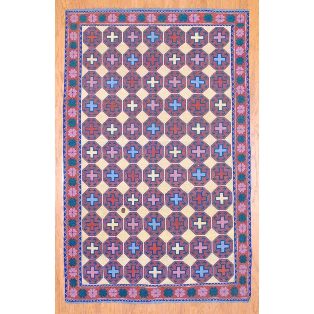 Afghan Hand-knotted Vegetable Dye Kilim Ivory/ Rust Wool Rug (6'9 x 10'7)