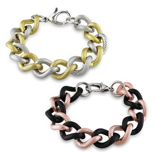 M by Miadora Two-tone Stainless Steel 8-inch Chain Bracelet