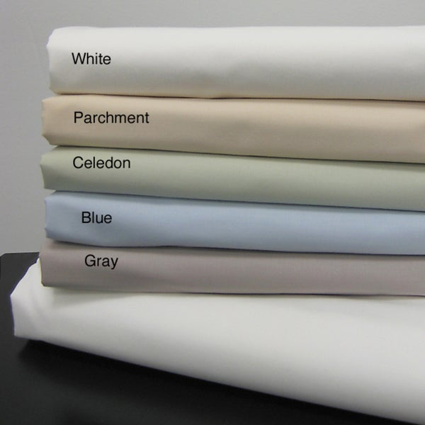 Echelon Home Egyptian Cotton Solid Percale Sheet Set