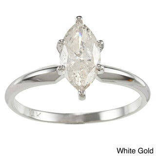 14k Gold 1ct TDW Marquise Diamond Solitaire Engagement Ring
