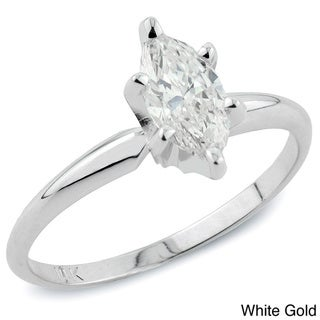 Auriya 14k Gold 1ct TDW Marquise Diamond Solitaire Engagement Ring (I-J, I1)