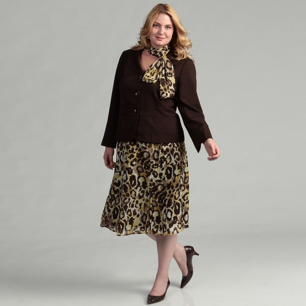 Evan Picone Women's Plus Size Espresso Skirt Suit