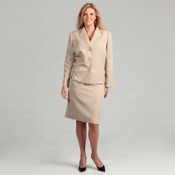 Evan Picone Women's Champagne 2-piece Plus Skirt Suit
