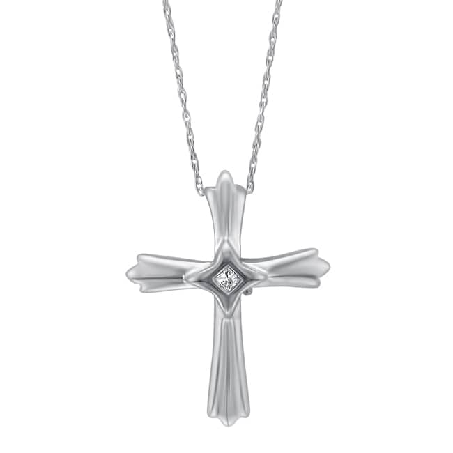 Montebello High-polish Sterling Silver Diamond-accent Cross Pendant Necklace