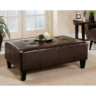 Abbyson Living Frankfurt Bi-cast Leather Rectangle Ottoman