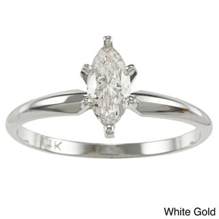 Auriya 14k Gold 1/2ct TDW Marquise Diamond Solitaire Engagement Ring (I-J, I1)