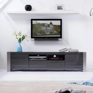 'Maya' Grey High-Gloss Stainless Steel TV Stand