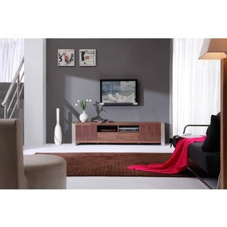 'Maya' Light Walnut Stainless Steel TV Stand